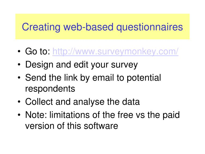 Creating web-based questionnaires