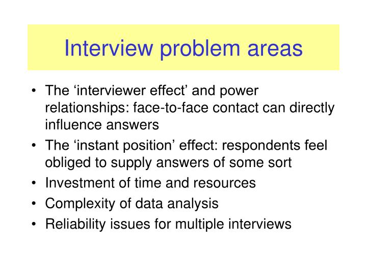 Interview problem areas