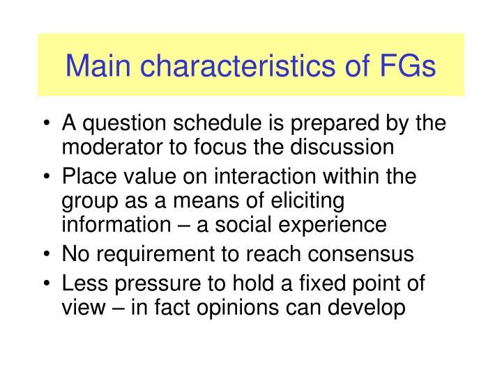 Main characteristics of FGs