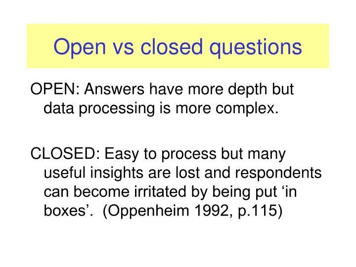 Open vs closed questions