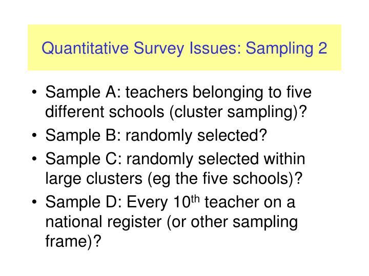 Quantitative Survey Issues: Sampling 2