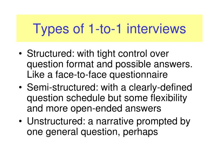 Types of 1-to-1 interviews
