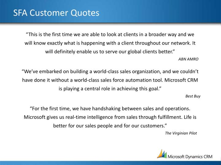 SFA Customer Quotes