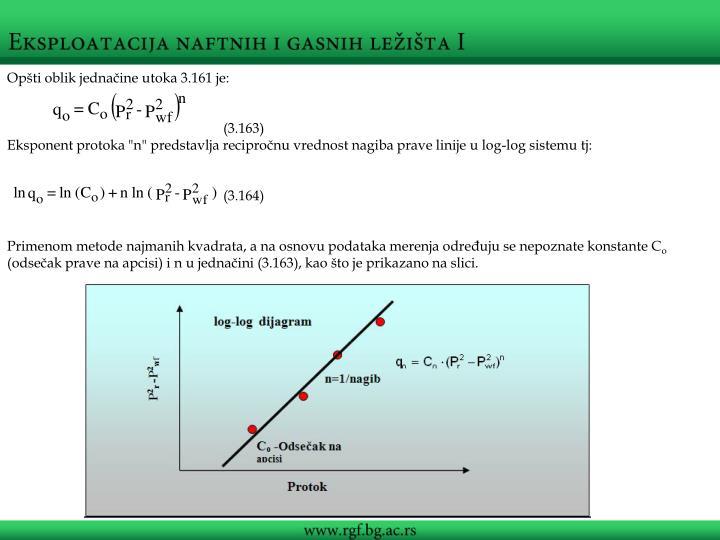 Opšti oblik jednačine utoka 3.161 je: