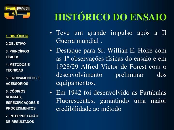 HISTÓRICO DO ENSAIO