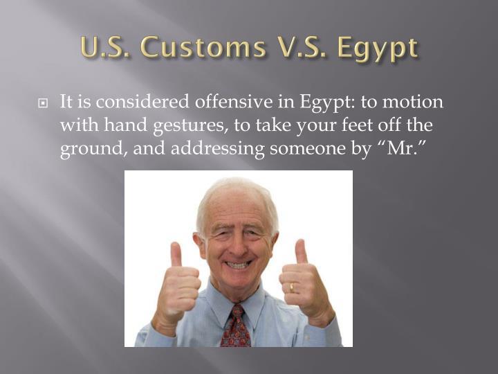 U.S. Customs V.S. Egypt