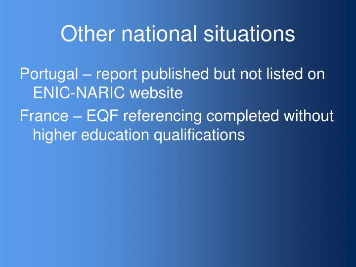Other national situations