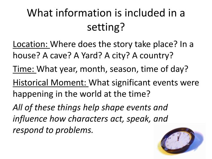 What information is included in a setting?