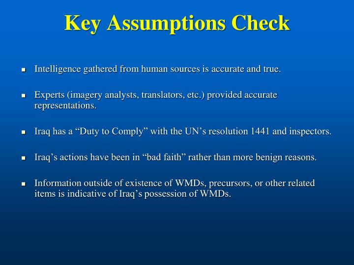 Key Assumptions Check