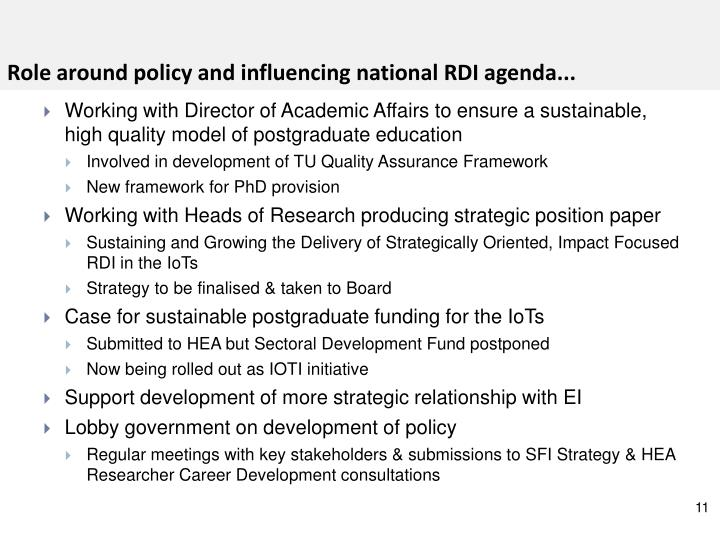 Role around policy and influencing national RDI agenda