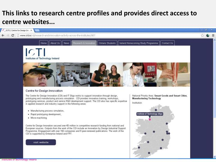 This links to research centre profiles and provides direct access to centre websites