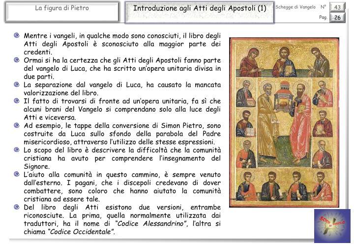 Introduzione agli Atti degli Apostoli (1)