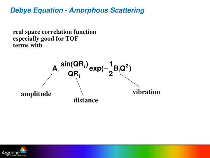 Debye Equation - Amorphous Scattering