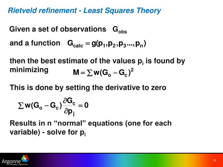 Rietveld refinement - Least Squares Theory