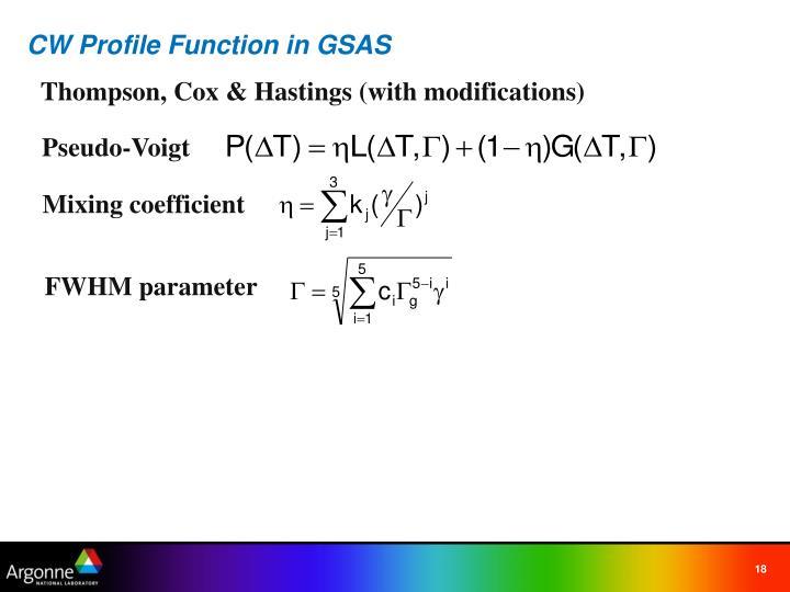 CW Profile Function in GSAS