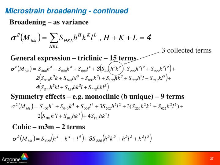 Microstrain broadening - continued