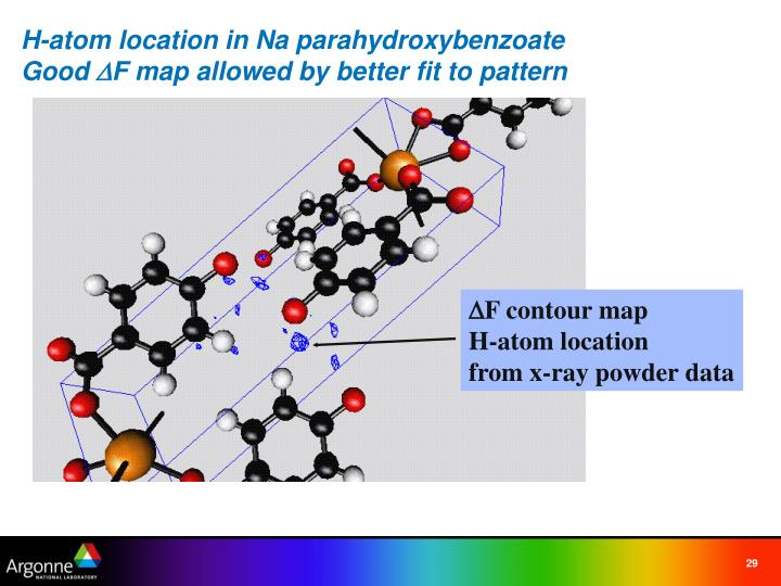 H-atom location in Na parahydroxybenzoate