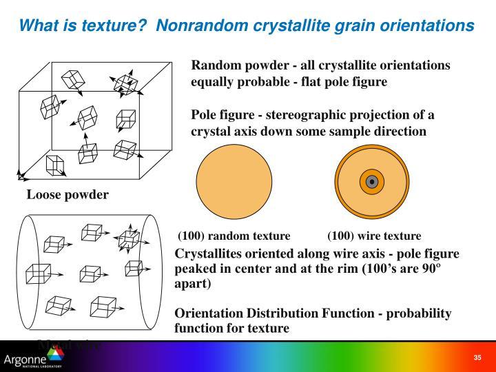 What is texture?  Nonrandom crystallite grain orientations