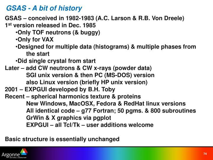 GSAS - A bit of history