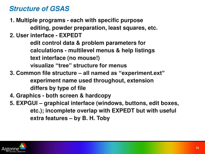 Structure of GSAS