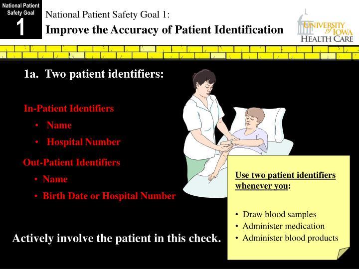 National patient safety goal 1 improve the accuracy of patient identification
