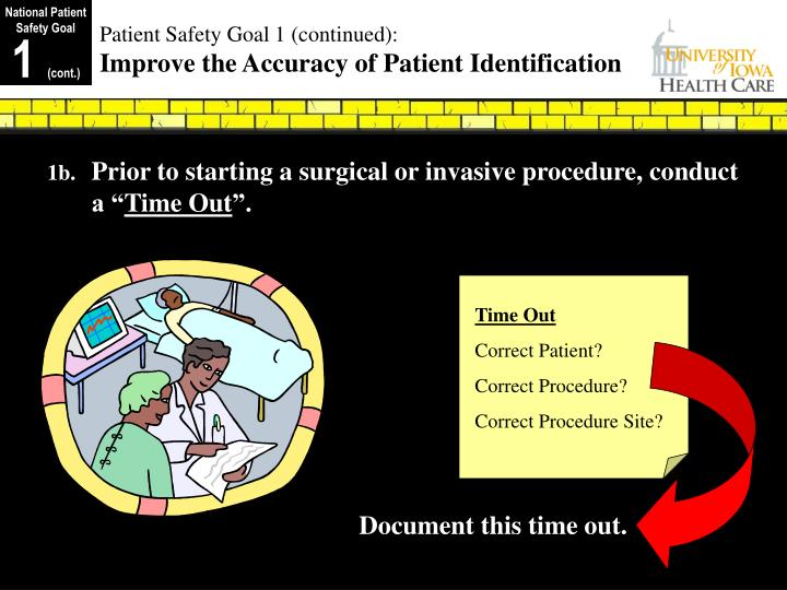 Patient safety goal 1 continued improve the accuracy of patient identification