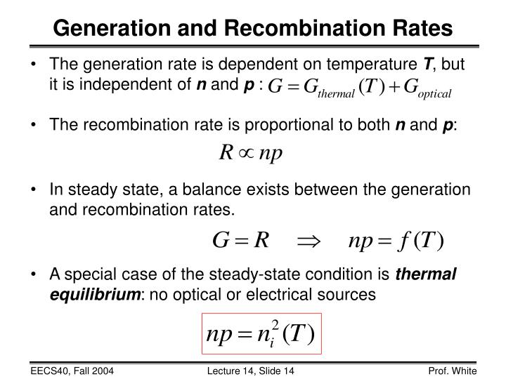 Generation and Recombination Rates
