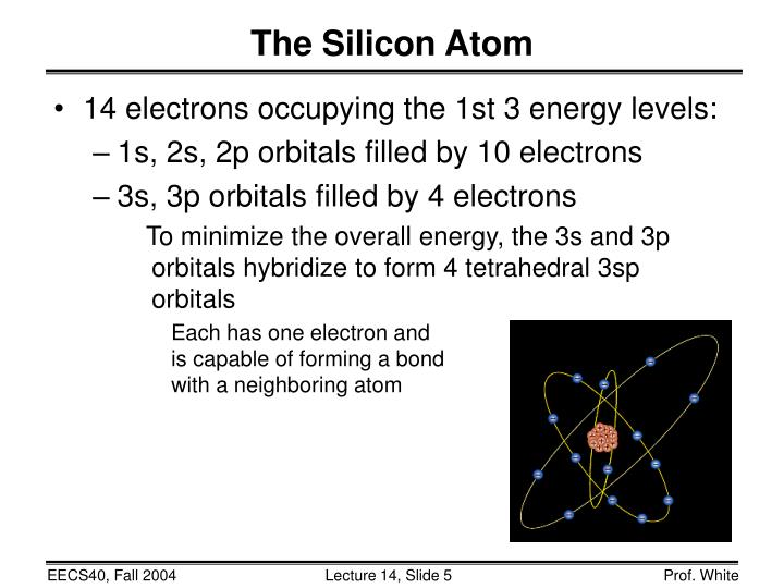14 electrons occupying the 1st 3 energy levels: