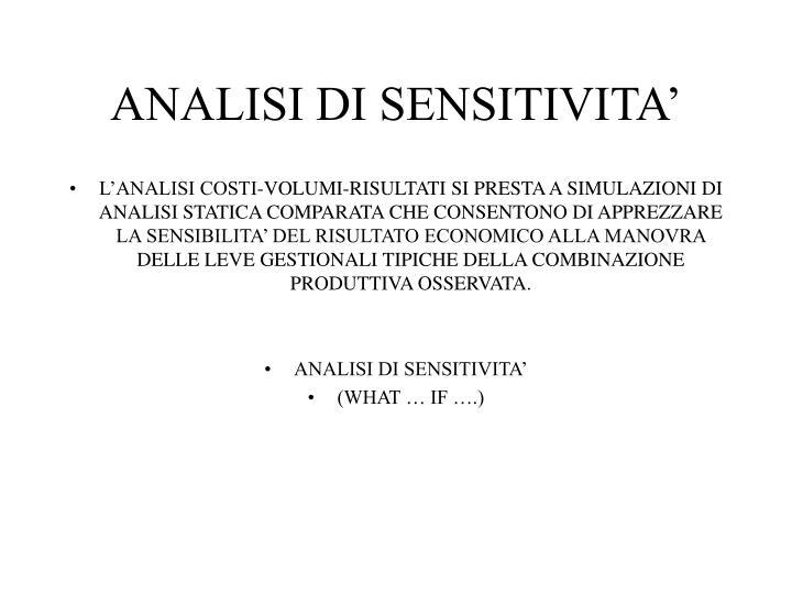 ANALISI DI SENSITIVITA'