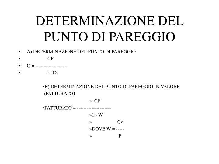 DETERMINAZIONE DEL PUNTO DI PAREGGIO