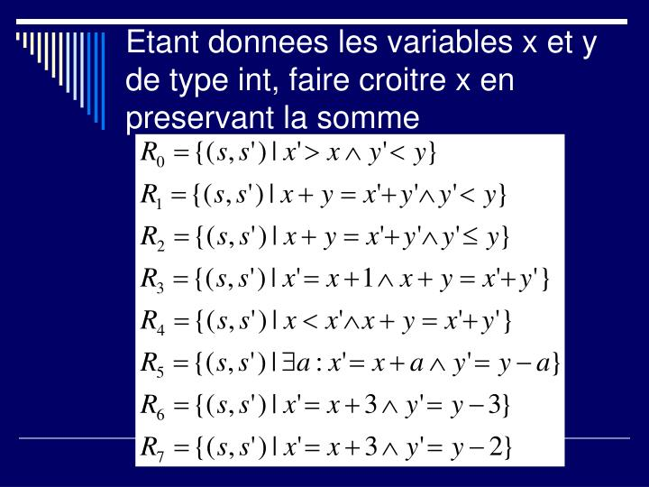 Etant donnees les variables x et y de type int, faire croitre x en preservant la somme