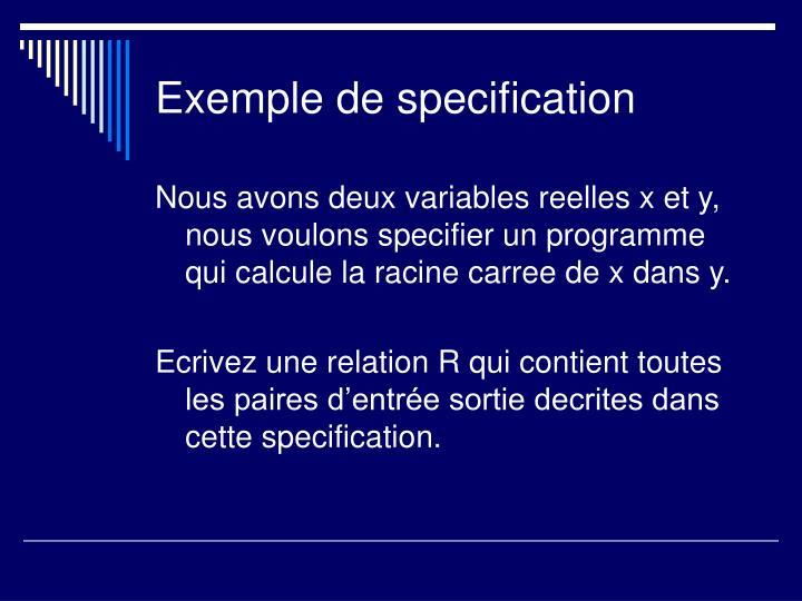 Exemple de specification