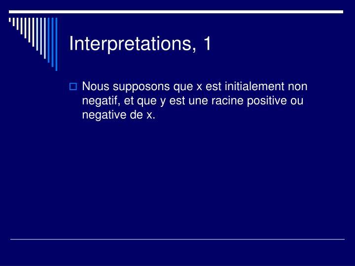 Interpretations, 1