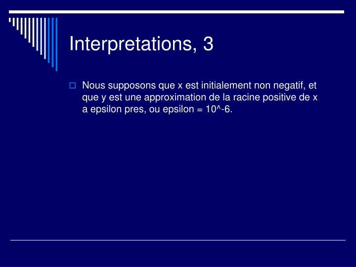 Interpretations, 3
