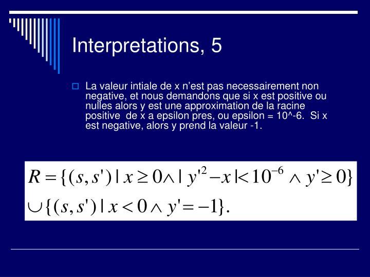Interpretations, 5