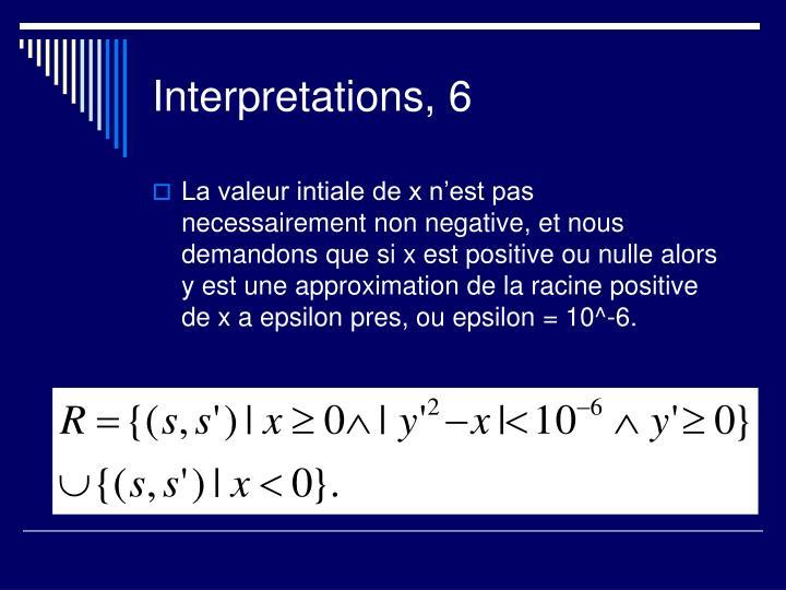 Interpretations, 6