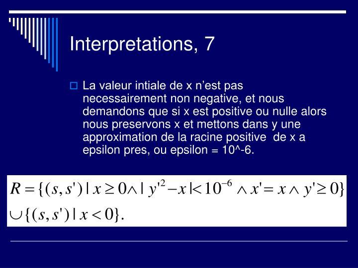 Interpretations, 7