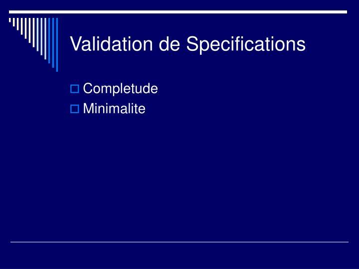 Validation de Specifications