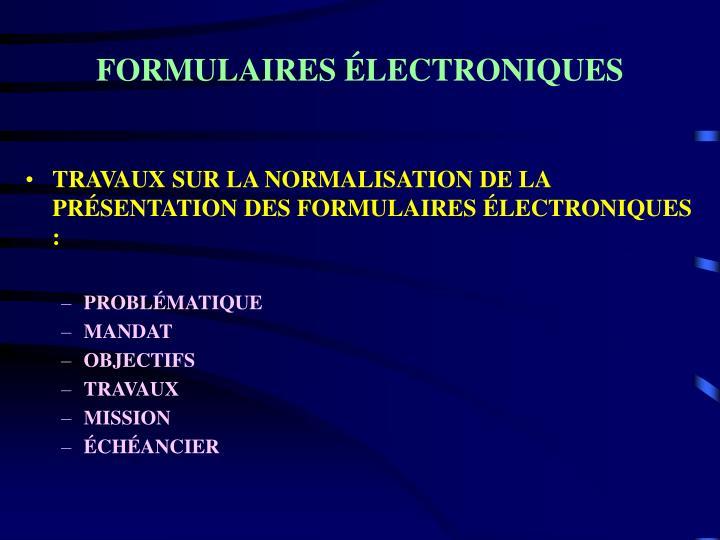 FORMULAIRES ÉLECTRONIQUES
