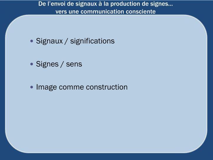 De l'envoi de signaux à la production de signes…
