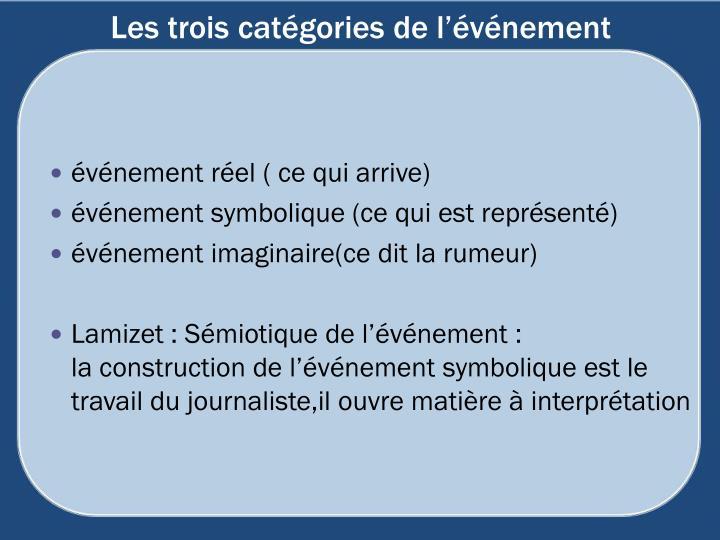 Les trois catégories de l'événement