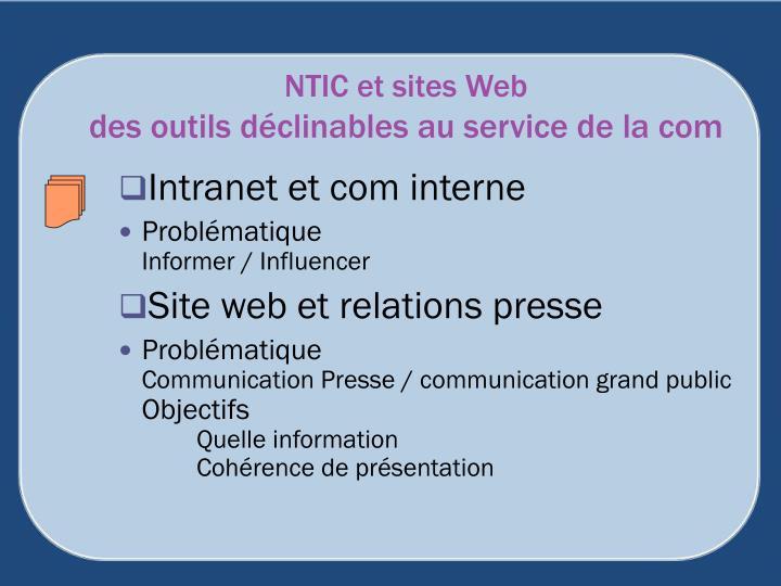 NTIC et sites Web