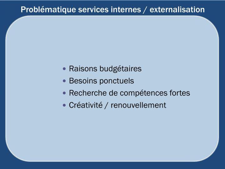 Problématique services internes / externalisation
