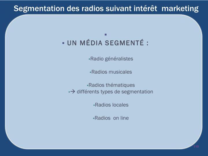 Segmentation des radios suivant intérêt  marketing