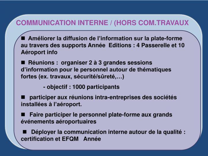 COMMUNICATION INTERNE / (HORS COM.TRAVAUX