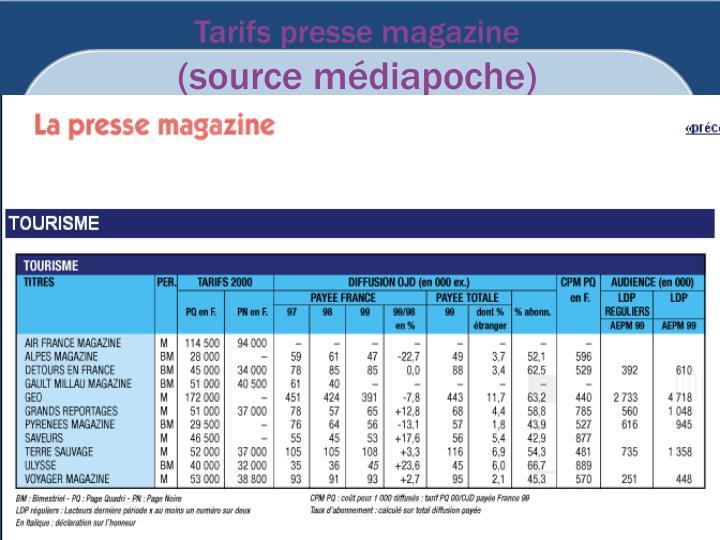 Tarifs presse magazine