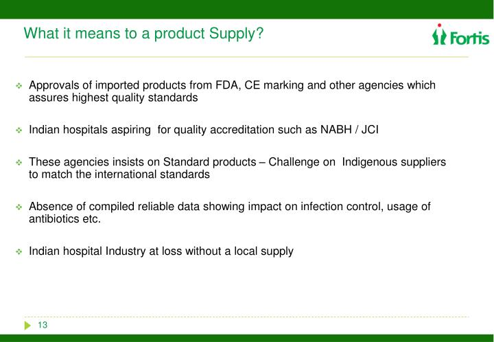 What it means to a product Supply?