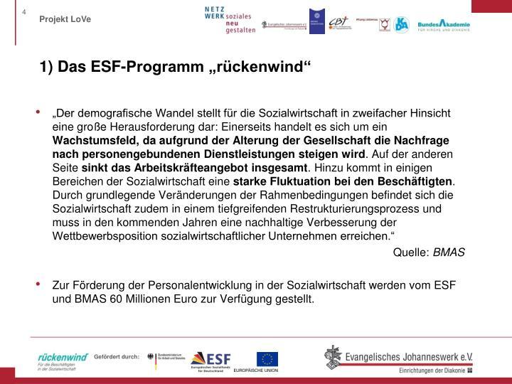 """1) Das ESF-Programm """"rückenwind"""""""