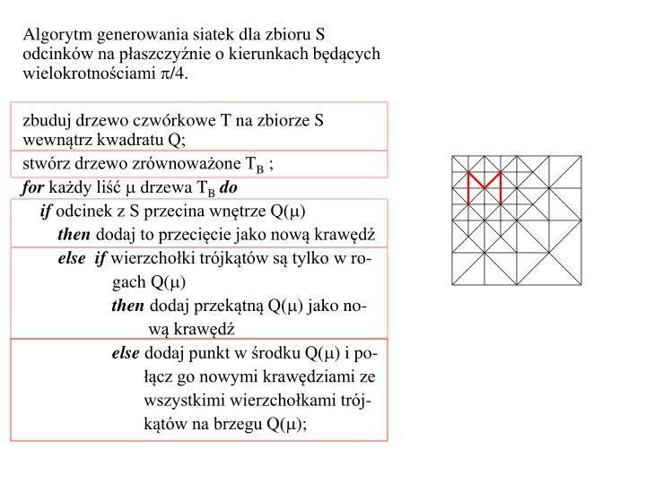 Algorytm generowania siatek dla zbioru S odcinków na płaszczyźnie o kierunkach będących wielokrotnościami