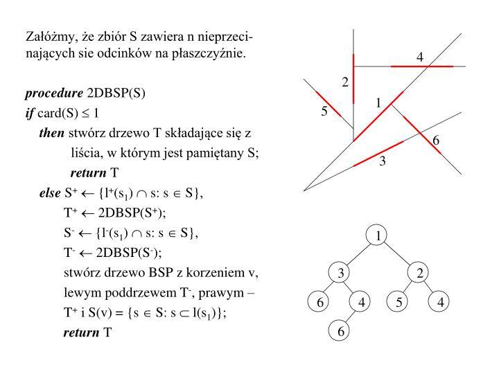Załóżmy, że zbiór S zawiera n nieprzeci-nających sie odcinków na płaszczyźnie.